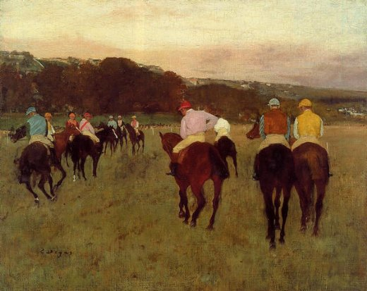 edgar degas racehorses at longchamp painting
