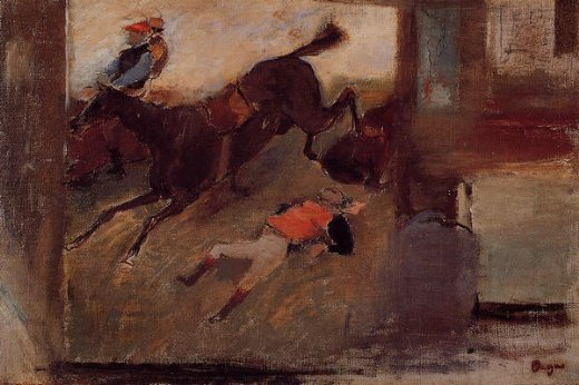 edgar degas studio interior with the steeplechase oil painting