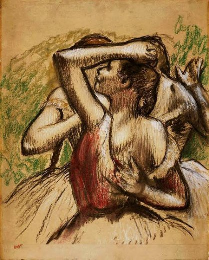 edgar degas three ballet dancers one with dark crimson waist posters