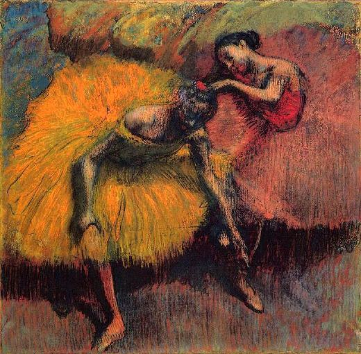 edgar degas two dancers in yellow and pink painting