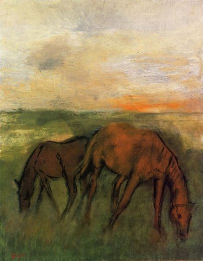 edgar degas two horses in a pasture painting