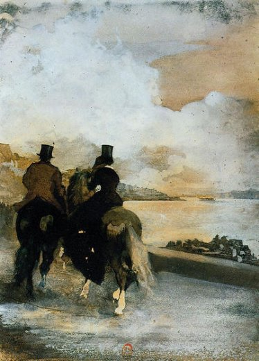 edgar degas two riders by a lake paintings