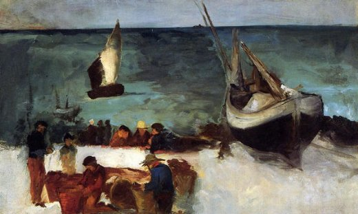 edouard manet berck seascape fishing boats and fishermen painting