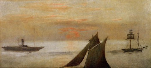 edouard manet boats at sea sunset painting