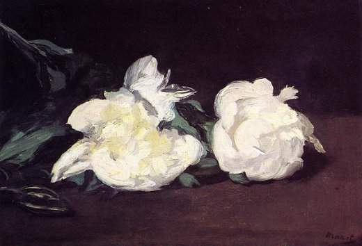 edouard manet branch of white peonies with pruning shears paintings