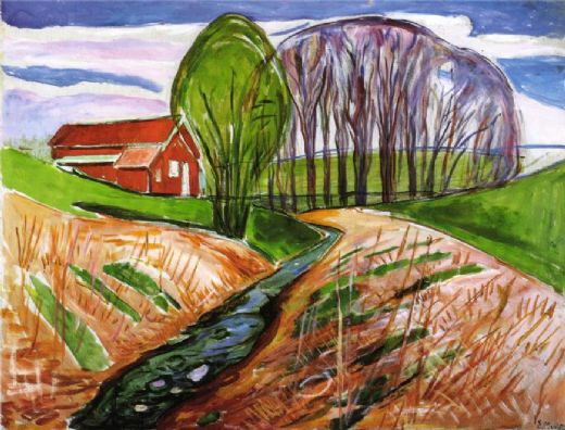 edvard munch spring landscape at the red house 1935 painting