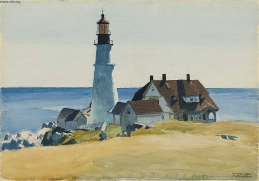 edward hopper lighthouse and buildings oil painting