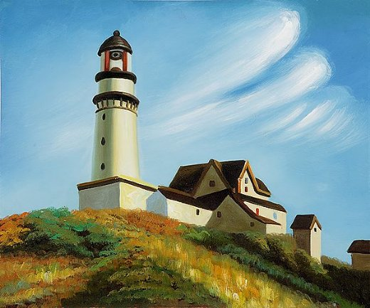 edward hopperlighthouse at two lights Painting-34926