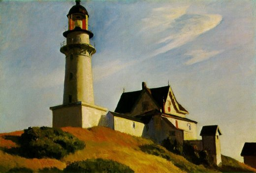 edward hopper the lighthouse at two lights oil painting