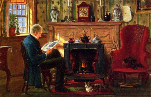 edward lamson henry examining illustrations by the fire painting