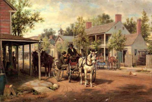 edward lamson henry horse and buggy on main street painting