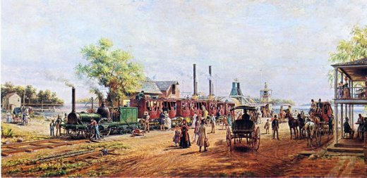 edward lamson henry the camden and amboy railroad with the engine planet in 1834 painting