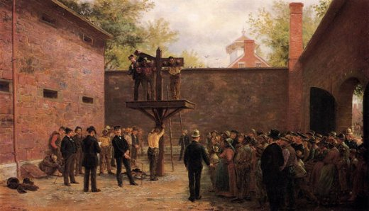edward lamson henry the pillory and whipping post new castle delaware painting