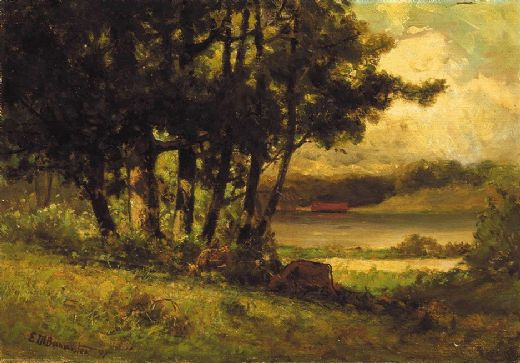 edward mitchell bannister landscape with cows grazing near river posters