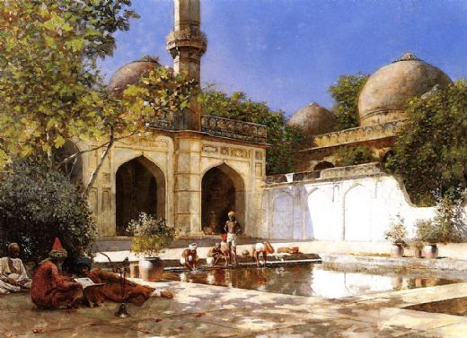 edwin lord weeks figures in the courtyard of a mosque paintings