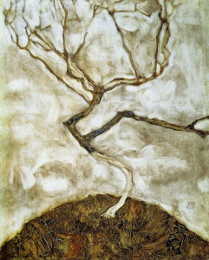 egon schiele a tree in late autumn painting