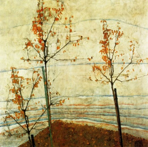egon schiele autumn trees paintings