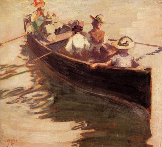 egon schiele boating painting