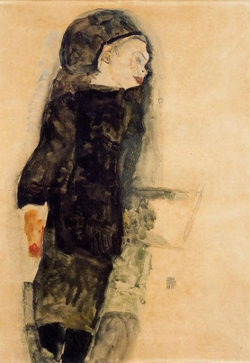 egon schiele child in black paintings