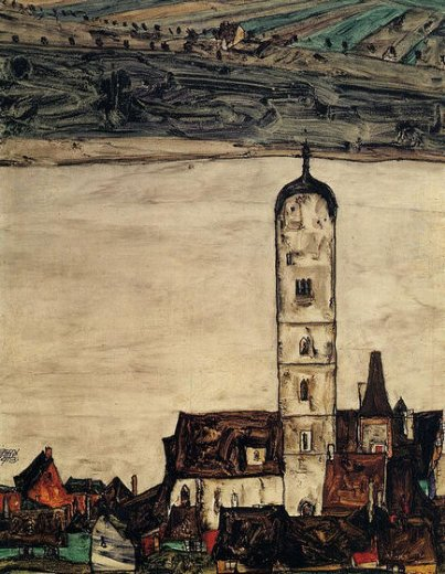 egon schiele church in stein on the danube paintings