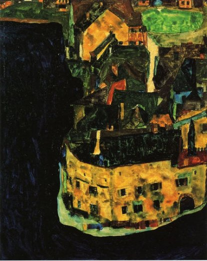 egon schiele city on the blue river painting