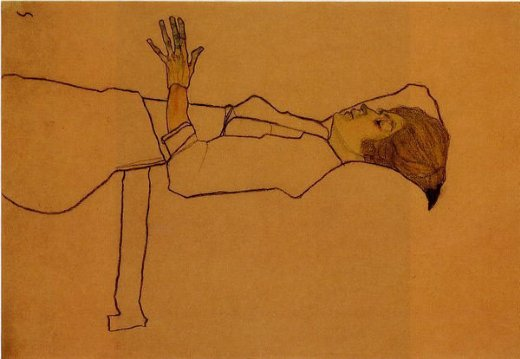 egon schiele clothed woman reclining paintings