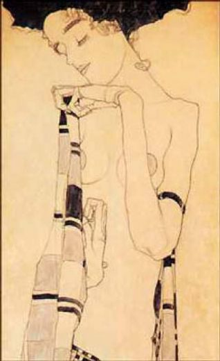 egon schiele gerdi schiele in a plaid garment painting