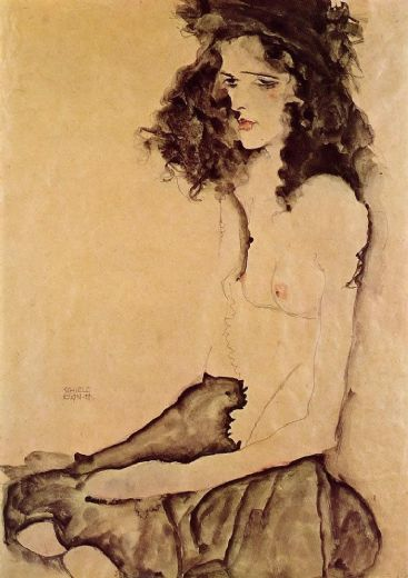 egon schiele girl in black paintings