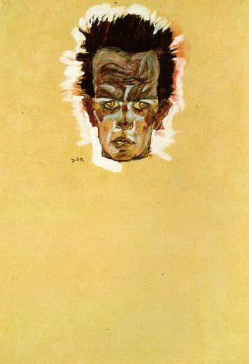 egon schiele head of a man painting