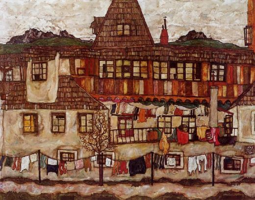 egon schiele house with drying laundry paintings