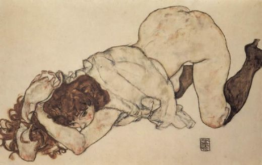 egon schiele kneeling girl on both elbows supported painting