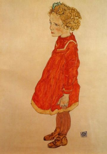 egon schiele little girl with blond hair in a red dress painting