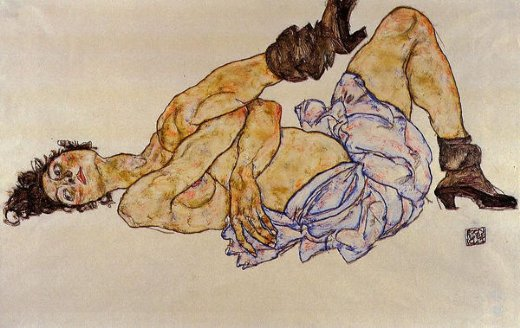 egon schiele reclining female nude ii painting