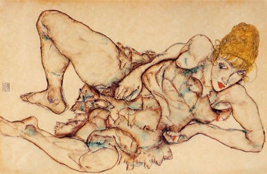 egon schiele reclining woman with blond hair paintings