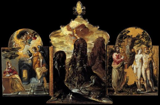 el greco the modena triptych back panels painting