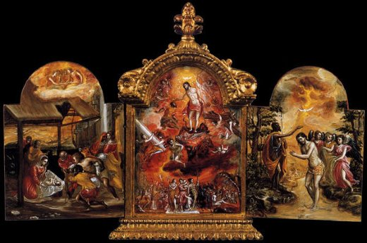 el greco the modena triptych front panels painting