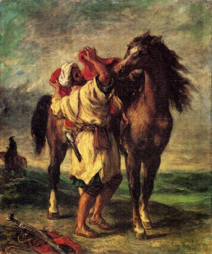 eugene delacroix a moroccan saddling a horse paintings