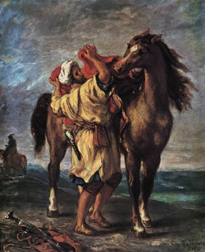 eugene delacroix marocan and his horse oil painting