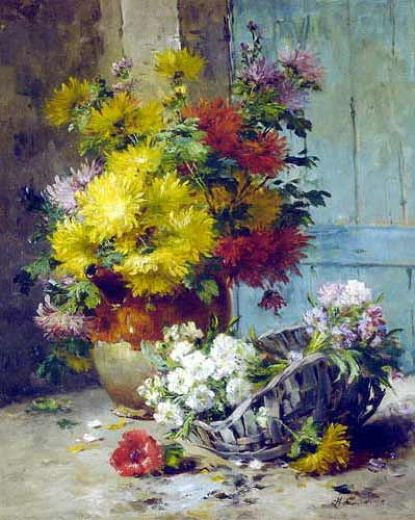 eugene henri cauchois still life of summer flowers painting