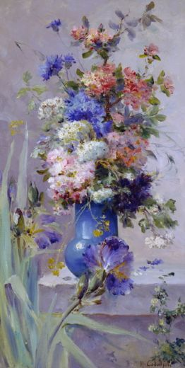 eugene henri cauchois summer flowers with japanese iris paintings