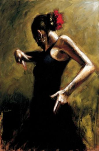 fabian perez dancer in black painting
