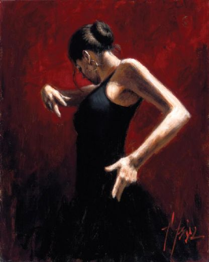 fabian perez el baile del flamenco en rojo i paintings