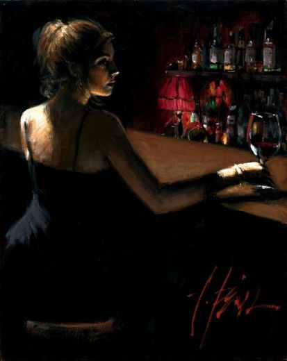 fabian perezgirl at bar with red light 1 Painting-79175