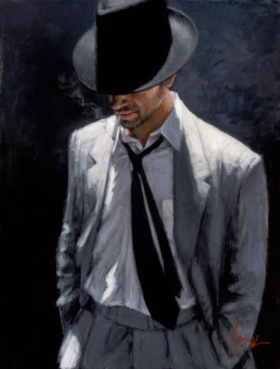 fabian perez man in white suit iv painting