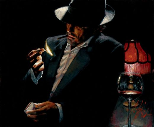 fabian perez man lighting cigarette ii painting