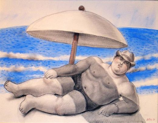 fernando botero man on the beach painting