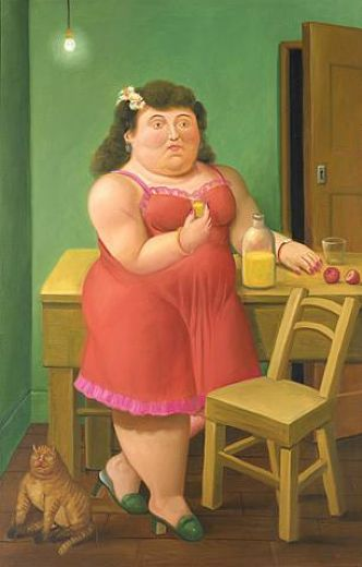fernando botero woman drinking with cat paintings