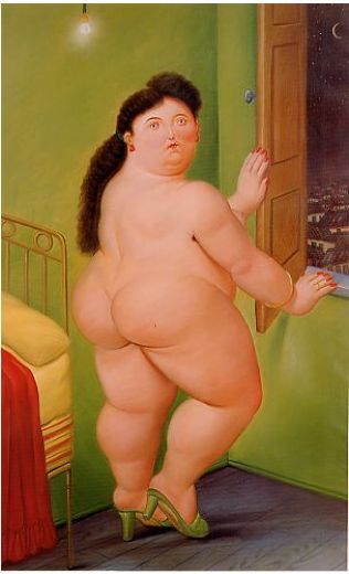 fernando botero woman in front of a window painting