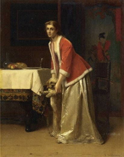 florent willems an elegant lady with her dog in an interior paintings