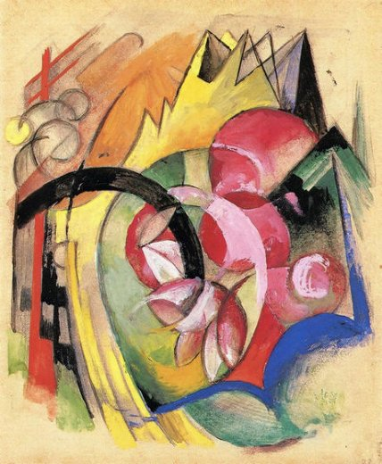 franz marc coloful flowers paintings